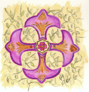 """Kelly's Cross"" - Equal-sided cross - watercolor by Kimberly Brown Cain"